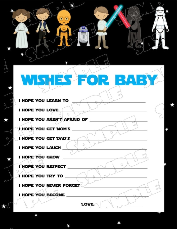 Star Wars Baby Shower Games Starwars Wishes For Baby Game Printable INSTANT  DOWNLOAD UPrint By Greenmelonstudios Starwars Baby Shower