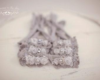 Newborn Grey Charcoal Headband, Shadow Blossom Headband, Gray Photo Prop, Newborn Prop, Grey Headband, Charcoal Headband, Grey Ivory Tieback