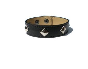 Black Leather Cuff - Pyramid Studded Leather Cuff - Leather Bracelet - Studded Black Leather Bracelet Cuff