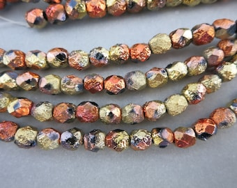 6mm Dragonfire Czech Glass Beads, Etched Seed Beads, Full Strand of 25 Beads