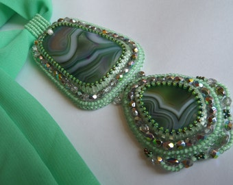"""Light Green and Silver Bead Embroidered Pendant Necklace with Agate Cabochons on Silk Ribbon """"Summer Breeze"""", OOAK jewelry, Beaded Necklace"""