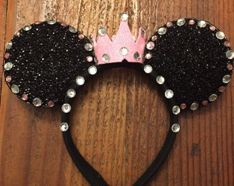 Minnie Mouse Ears with Gems & Crown, Minnie Mouse Props, Minnie mouse costume, Disneyland Trip, party favor