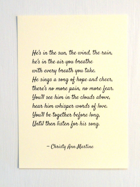 Clearance 50% Off - Sympathy Gift - Prints - Loss of Son Father or Brother - He's in the Sun the Wind the Rain Poem Print