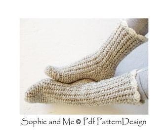 Ribbed Basic Crochet Socks- Crochet Pattern - Instant Download Pdf
