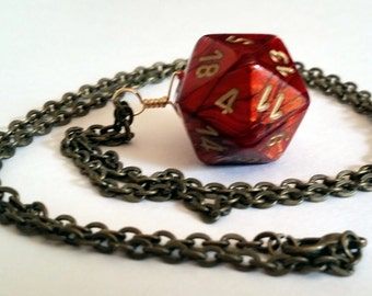 Red Dice Necklace - Red Gold Swirl D20 Twenty Sided Dice Jewelry - Geeky Gamer Jewelry - Dice Pendant