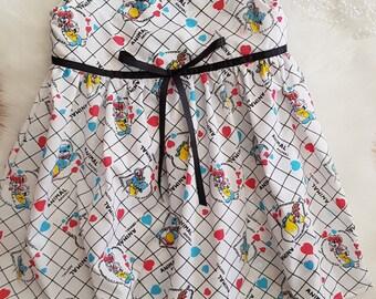 White cotton print dress size 4