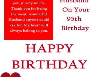 Husband 95 Birthday Card with removabl laminate