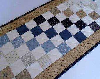 Primitive Quilted Table Runner, Long Christmas Table Runner in Khaki and Navy, Primitive Decor, Long Winter Quilted Table Runner Quilt