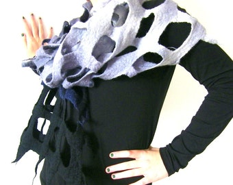 Felted Lattice Scarf, Merino Wool Scarf, Black Gray, Felted Wrap