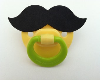MUSTACHE PACIFIER (yellow & lime) (stache paci)