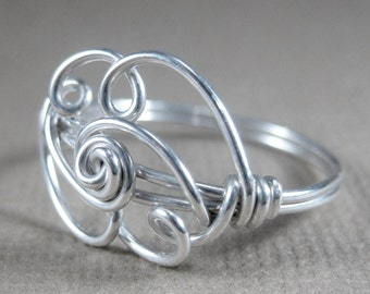 Cloud Ring Wire Wrapped Sterling Silver Cloud 9 -- The Silver Lining