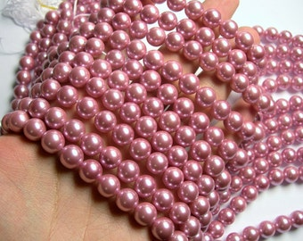 Pearl  - 10 mm round - lavender pink Pearl - 1 full strand - 40 beads - SPT14 - Shell pearl