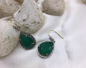 Victorian Handmade Women Dangling Oxidized Hook Earrings 14kt Gold .925 Sterling Silver Pave Diamonds Emerald Gemstone
