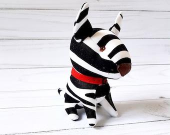 Dog lover gift toy dog pit bull Funny toy Zebra dog Stuffed animal dog Miniature dog Personalized dog Soft dog toy Plush dog