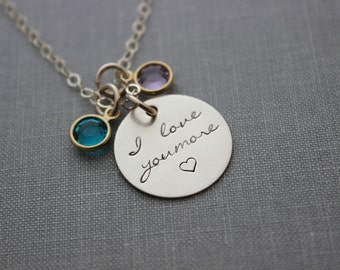 Personalized 14k gold filled I love you more necklace - Swarovski Crystal Birthstone Charms - mom - grandma - wife - Christmas Gift