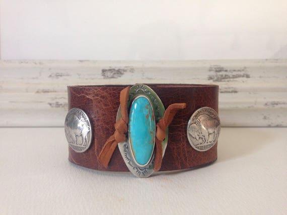 Handmade Leather Cuff, Southwestern, Blue Kingman Arizona Turquoise, Wide Brown Water Buffalo Leather Cuff, One Of A Kind, Buffalo Nickel