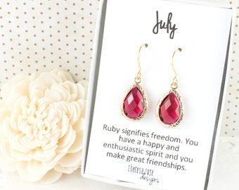 July Birthstone Ruby Gold Earrings, Ruby Gold Teardrop Earrings, July Birthday Gift, Bridesmaid Earrings, July Birthstone Jewelry