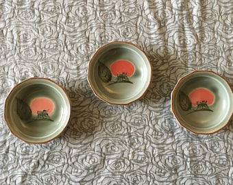 Kotobuki 12-Sided Ceramic Sauce Bowls with Red Tree Motif, Set of 3