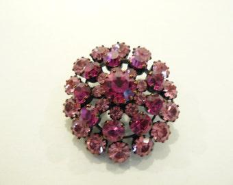 Beautiful Vintage Pink Rhinestone Brooch / Pin Made in Austria