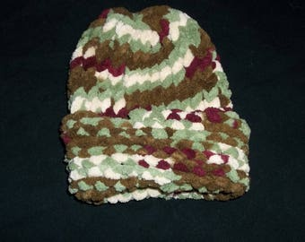 Handmade In America - Brown,Red,Green and White /Multi color Preemie Chunky Toboggan