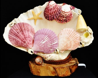 Seashell clam lamp with starfish