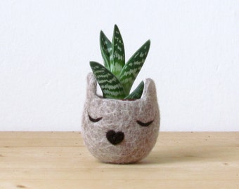 Felt succulent planter / 7th anniversary gift / Small succulent pot / Cat  / Personalized planter / Cat person gift