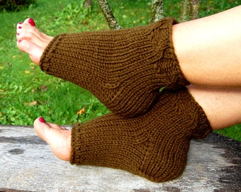 Knit Flip Flop Socks, Knitted Pedicure Socks, Toeless Socks, Cable Knit Socks, Yoga Socks, Hand Knit Socks for Pedicure