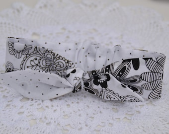 Black and white headknot - headband for girls, gifts for girls
