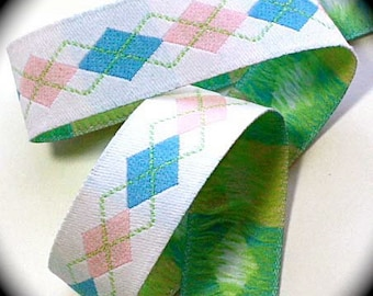 "Woven Ribbon - 7/8"" - White, Pink, Blue and Lime"