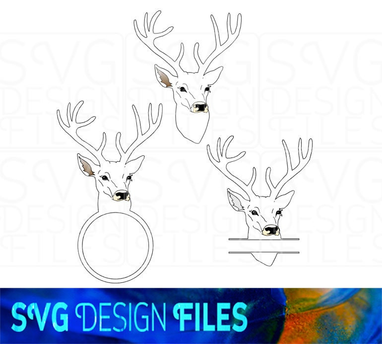 Deer Head svg Monogram Frame file SVG Print & Cut stag