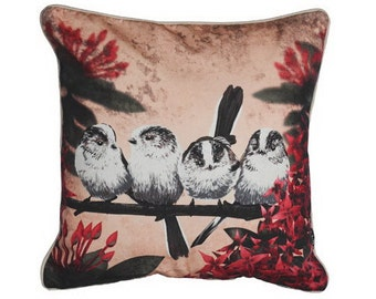 Cushion cover for throw pillow with bird - Long-tailed Titmouse - 16x16 inch 40x40cm DELUXE edition