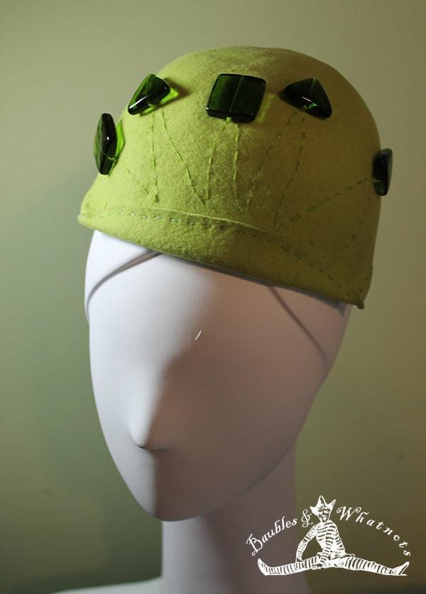 9154de39e0c Chartreuse Green Hand Blocked Beaded Wool Beanie Hat OOAK ...