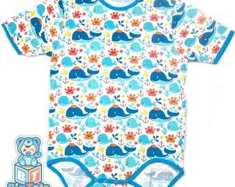 Adult Baby WHALES  snap crotch Bodysuit ABDL