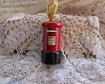 Classic British Postbox Christmas Decoration ~ Handturned and Handpainted