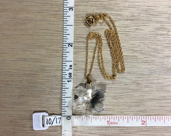 """Vintage 17"""" Gold Toned Necklace Crystal Snowflake Used"""