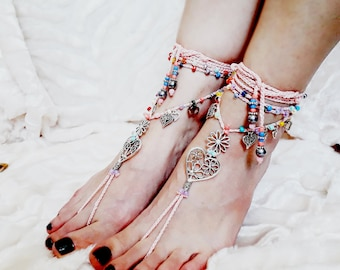 Barefoot sandals pink silver heart wedding bride beach foot jewelry beads gypsy shoes wrap around ankle bracelet with toe ring foot thong