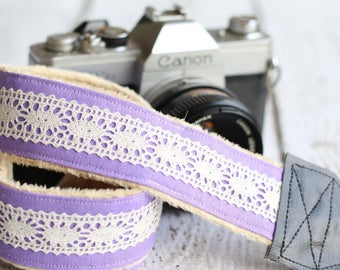 dSLR Camera Strap - Lavender Linen Lace. Camera Strap. SLR Camera Strap. Camera Neck Strap. Camera Accessories.