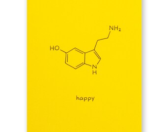 Science Nerd Birthday Card - Happy Serotonin Card - Chemistry Card - Geek Card - Any Occasion Card