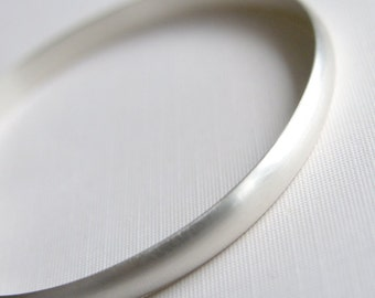 Heavy Bangle Sterling Silver Bracelet Brushed Finish