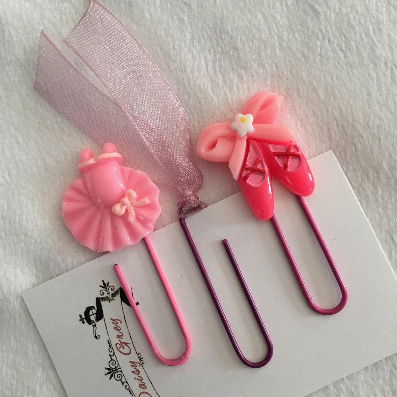 Pink Ballarina Ballet Shoes Ribbon Paper Clips Bookmarks