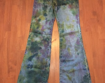 Hand dyed flare jeans