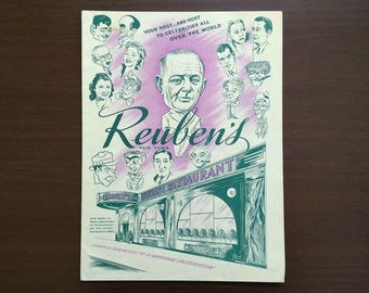 Reuben's Restaurant of New York Menu - 1950s Vintage - Celebrity Caricatures Cover - Dinner Menu Including Famous Sandwiches - in Good cond