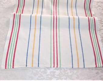 Vintage Towel Striped Kitchen Towels Tea Dish Towel Dish Cloth Hand Towels Primary Stripes Fiesta Vintage Linens