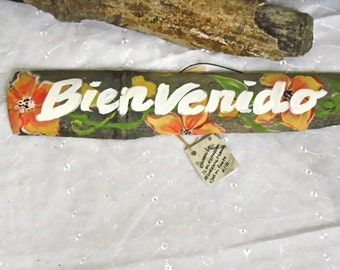Hand Painted Drift Wood  Welcome Sign - Spanish  Bienvenido- Tropical Art-