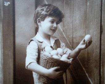 postcard boy with easter eggs, vintage postcard