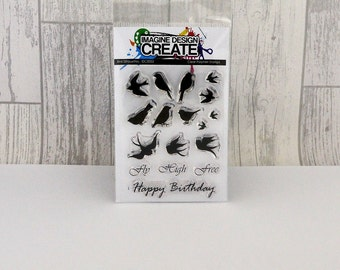 Bird Silhouettes A7 clear photopolymer stamps