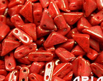 CORAL RED LUMI: 6x6mm Tango Two-Hole Triangle Czech Glass Beads (10 grams)