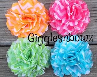 Chiffon Tulle Flowers- Chevron Print Flowers- 3 inch Headband Flowers- Headband Supplies- Diy Supplies- Fabric Flowers- Diy Headbands