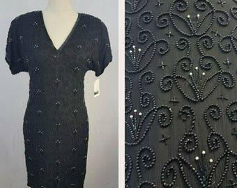 Gorgeous Black Vintage Beaded & Sequined Dress