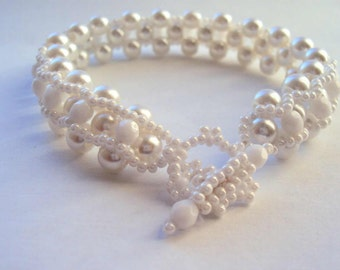 Beaded White Bracelet Wedding Bracelet Handmade Jewelry Bracelet Beadwork Bracelet Woven Beaded Bracelet